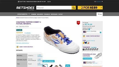 Netshoes  Chuteira Topper Comet 4 Futsal Infantil - Unissex -  7895265989053 - de R 57ea32bb6030e