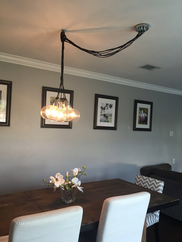 Swag Cluster Chandelier Off Center Ceiling Light Dining Room Etsy In 2020 Dining Room Lighting Dining Room Chandelier Ceiling Lamp Dining Room