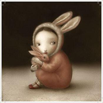 Soft and surreal girl and bunny