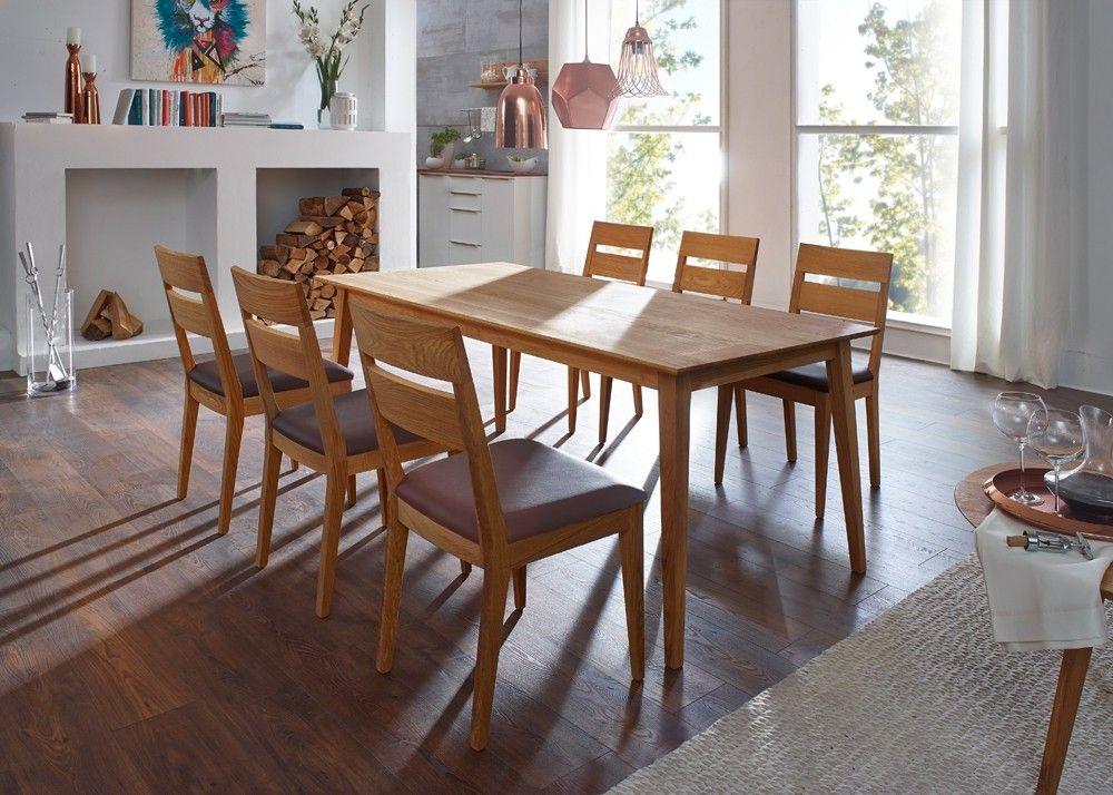 Essgruppe Filippa Esstisch mit 6 Stühlen Holz Wildeiche Massiv 20951. Buy now at https://www.moebel-wohnbar.de/essgruppe-filippa-esstisch-mit-6-stuehlen-holz-wildeiche-massiv-20951