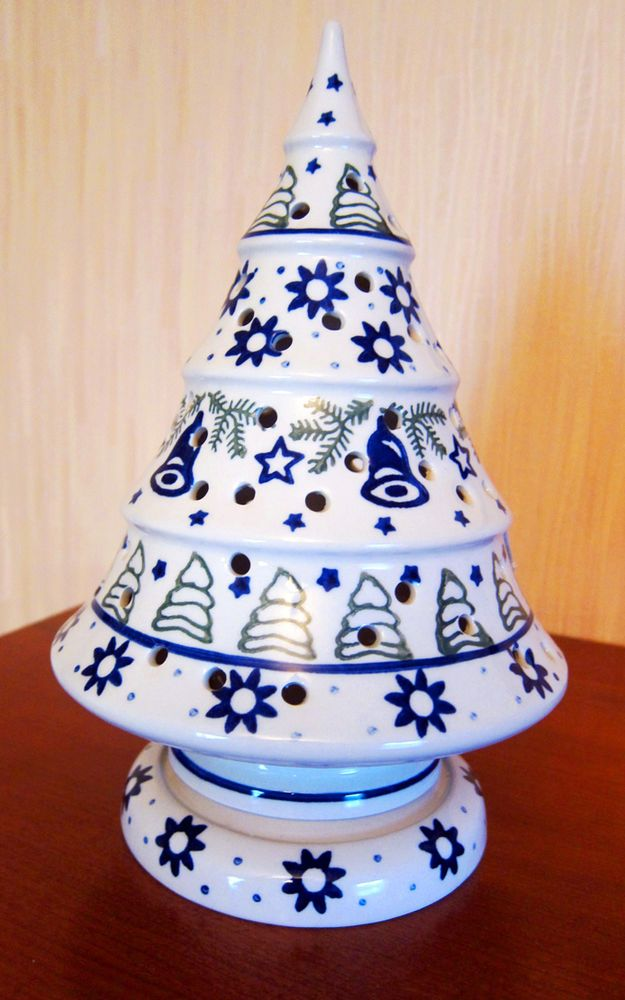 Boleslawiec Polish Pottery Christmas Tree Candle Holder Luminary Wiza New Christmas Tree Candles Christmas Tree Candle Holder Candle Holders