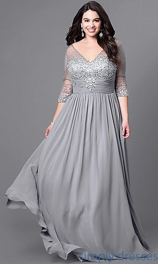 Plus-Size Long Silver Formal Dress with Sleeves | Plus size | Formal ...