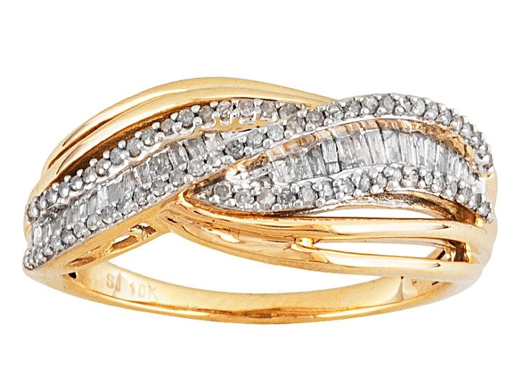 White Diamond 10k Yellow Gold Ring 45ctw Gold Rings Yellow Gold Rings Rings