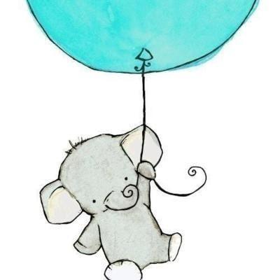Baloon Blue Cute Drawing Elephant Art 101 In 2019 Cute