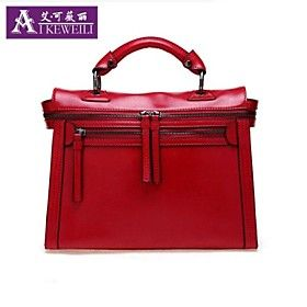 Structured Red Bag Cambridge Satchel With Zip Detailing