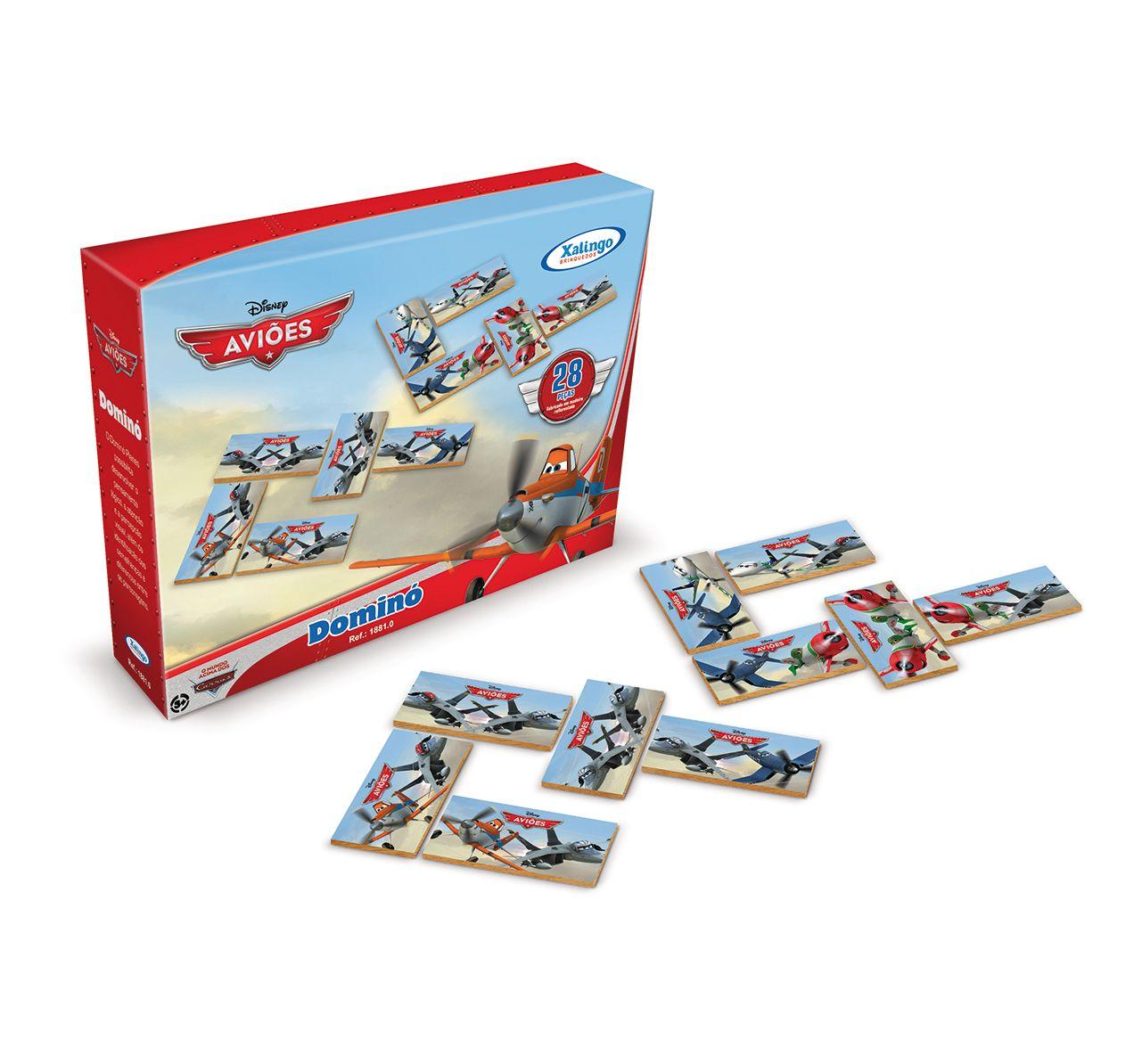 1881.0 - Dominó Aviões Disney | Com 28 peças em madeira reflorestada. | Faixa etária: + 3 anos | Medidas: 20,5 x 5 x 15,5 cm | Licenciados | Xalingo Brinquedos | Crianças
