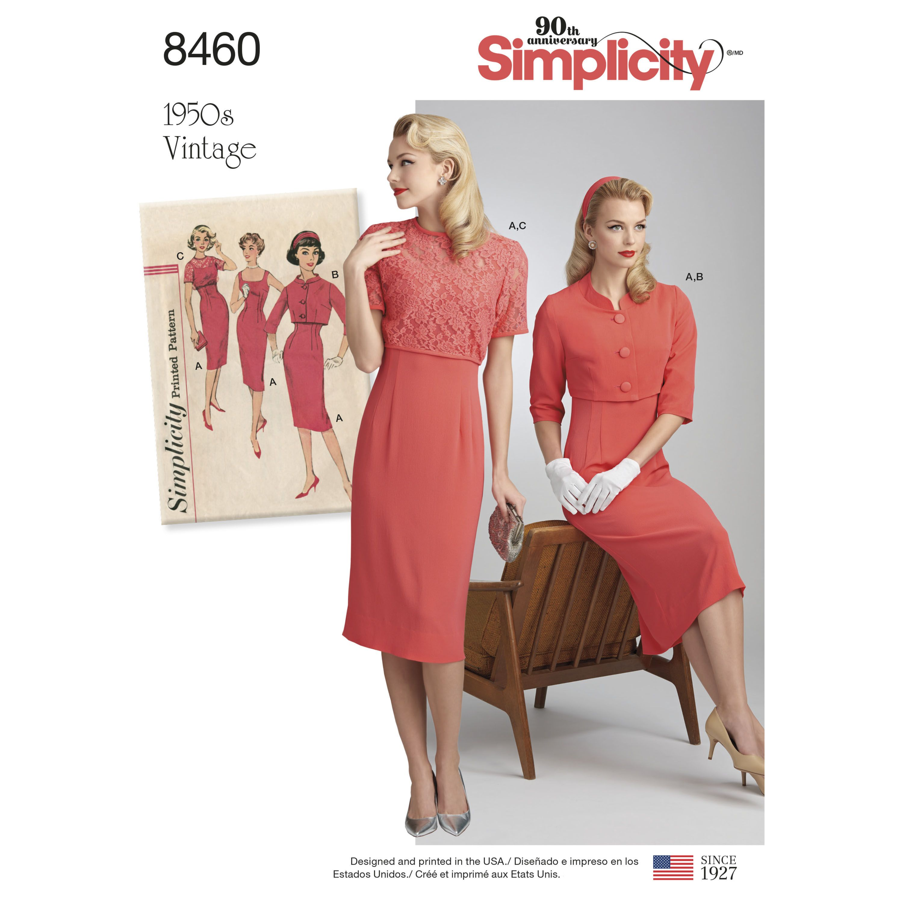 Simplicity Pattern 8460 Misses\' Vintage Dress and Jackets