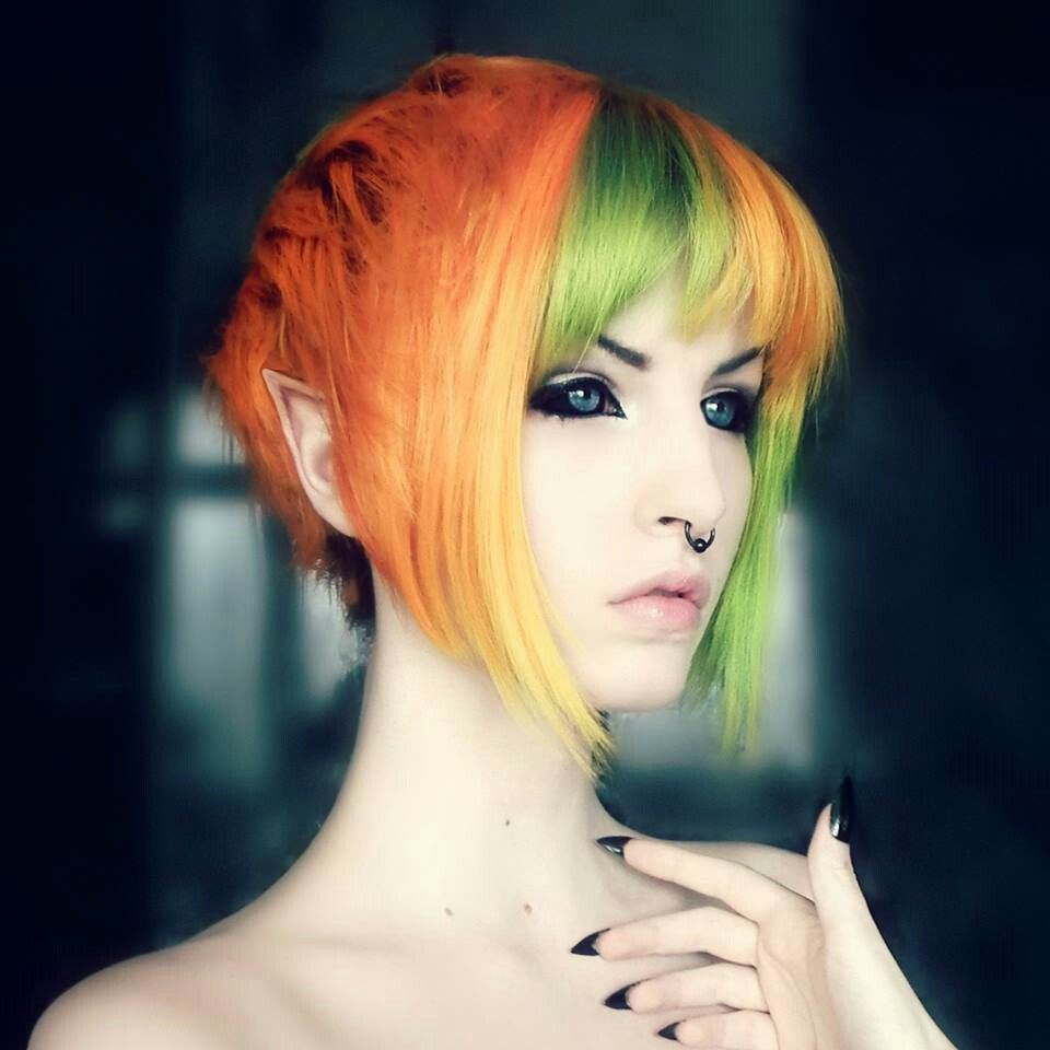 orange green and yellow hair also look at her contacts