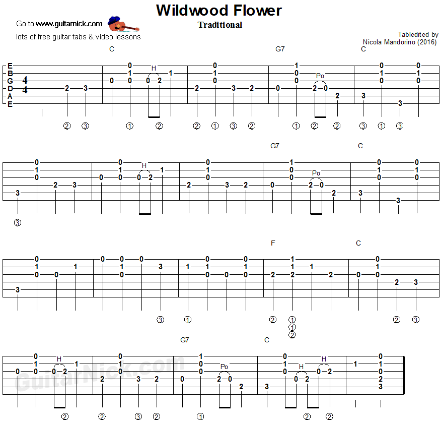 Wildwood Flower - The Carter Family, flatpicking guitar tablature ...