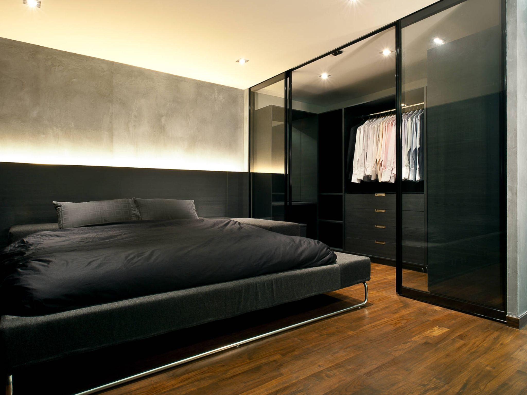 Industrial Bedroom Using Dark Bed Design Industrial