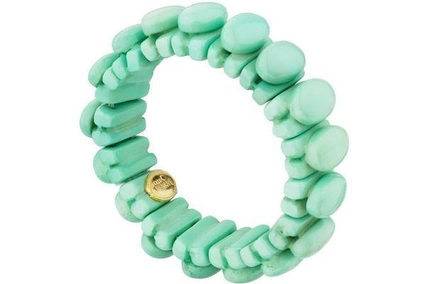 Bracelet cabochons Megan en résine, élastique, turquoise Dominique Denaive