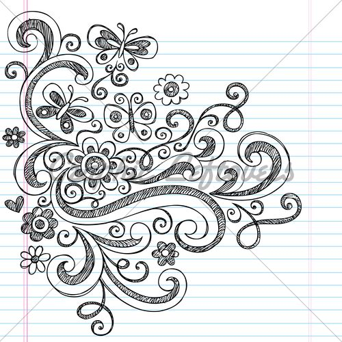 Flowers, Butterflies, And Swirls Sketchy Back T... | Doodling ...
