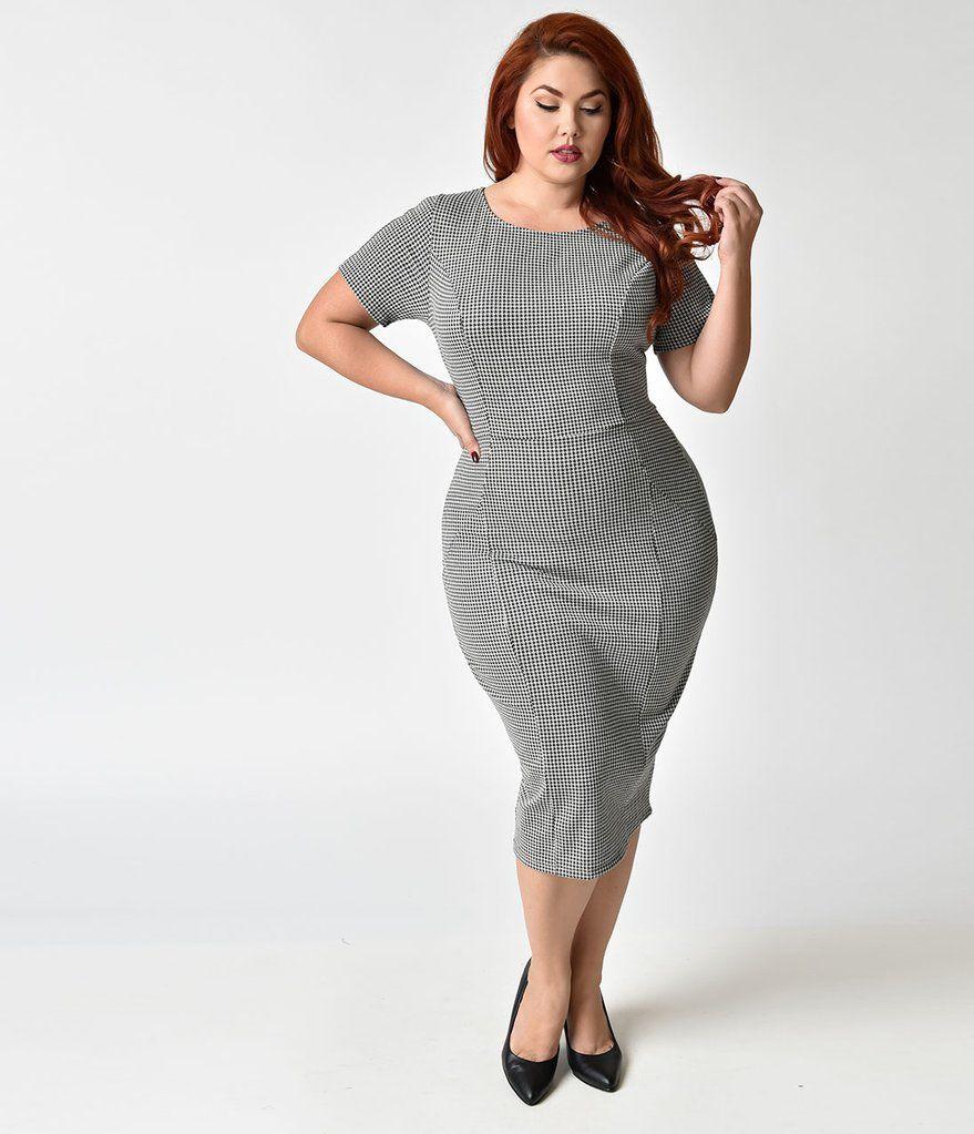 f00173addd Unique Vintage Plus Size 1960s Style Black   White Houndstooth Mod Wiggle  Dress