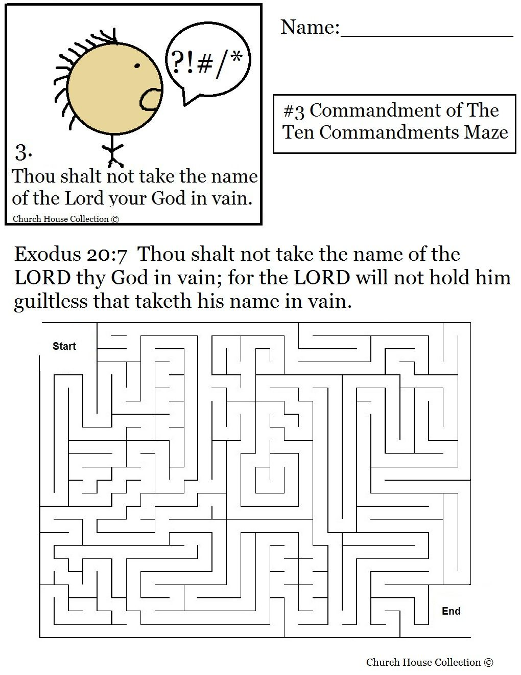 Coloring sheet ten commandments - Coloring Pages For Kids Each 10 Commandments Thou Shalt Not Take The Lords Name In