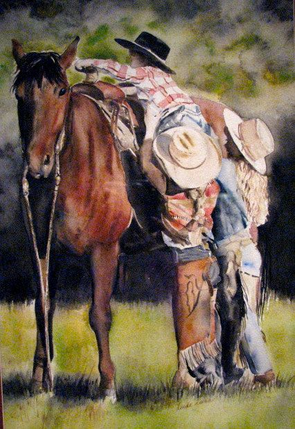 Sunday Morning Getting Up on Big Red by WatercolorMaster on Etsy, $425.00