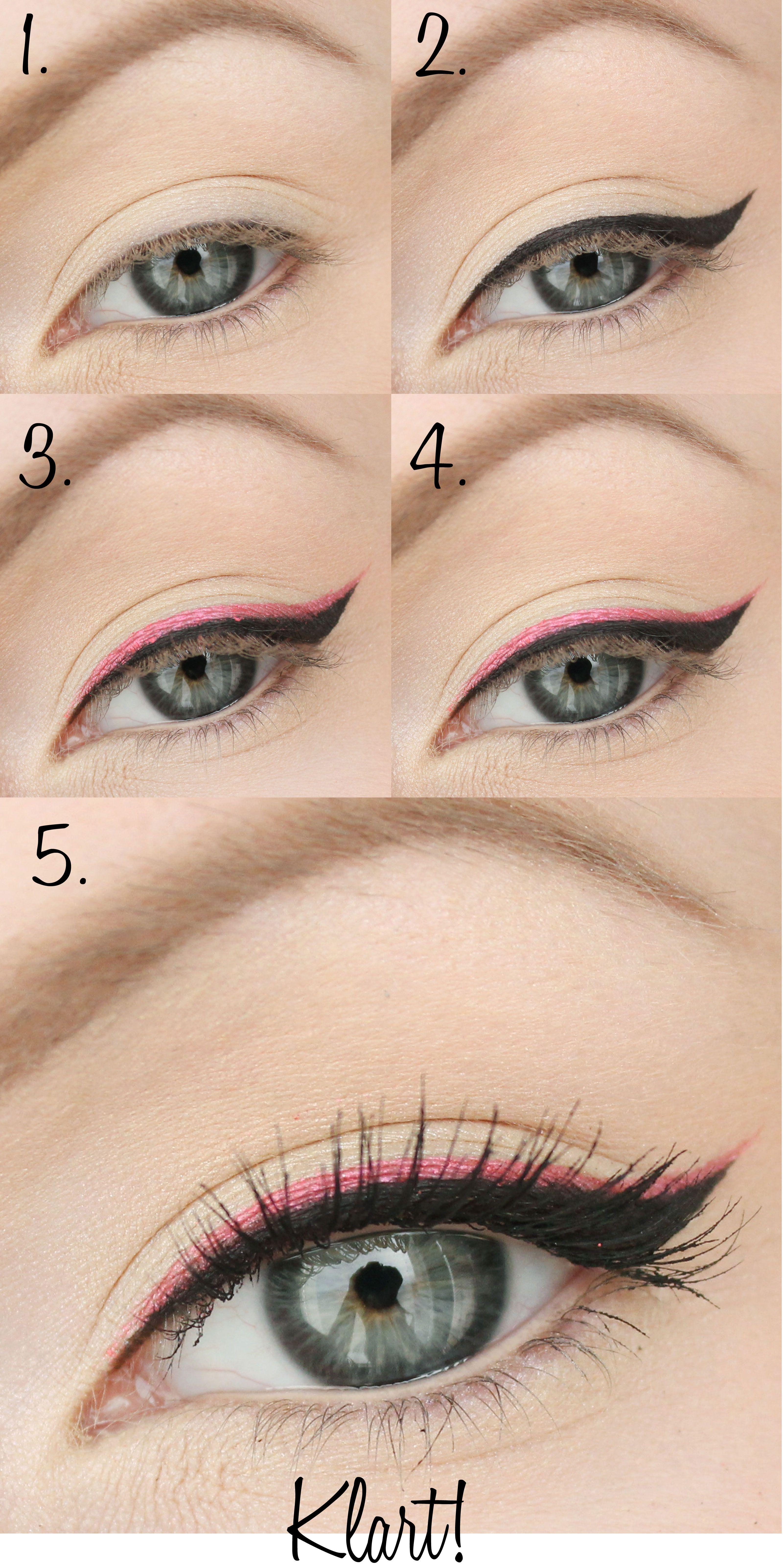 Eyeliner Svart Och Rosa Steg For Steg Makeup Simple Eye