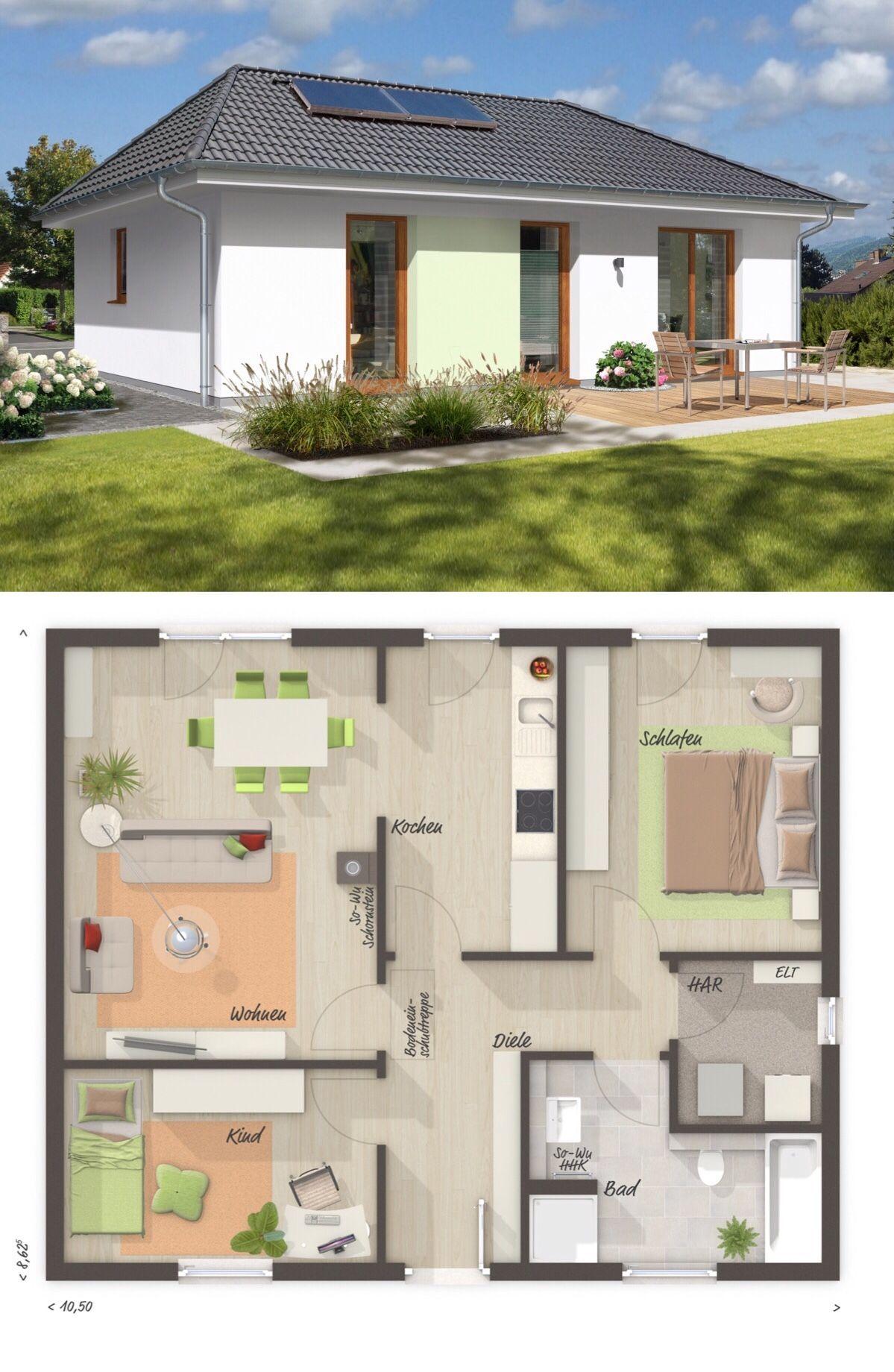 Bungalow Haus Grundriss Klein 3 Zimmer Barrierefrei 77 Qm Wohnflache Massivhaus Schlusselfertig Bauen Ideen Einfa Haus Grundriss Haus Bungalow Bauplan Haus