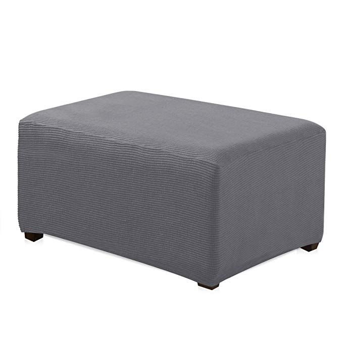 Chun Yi Oversized Ottoman Slipcover Jacquard Polyester Stretch Fabric Rectangle Folding Storage Stool Ottoman Cover Ottoman Slipcover Slipcovers Ottoman Cover