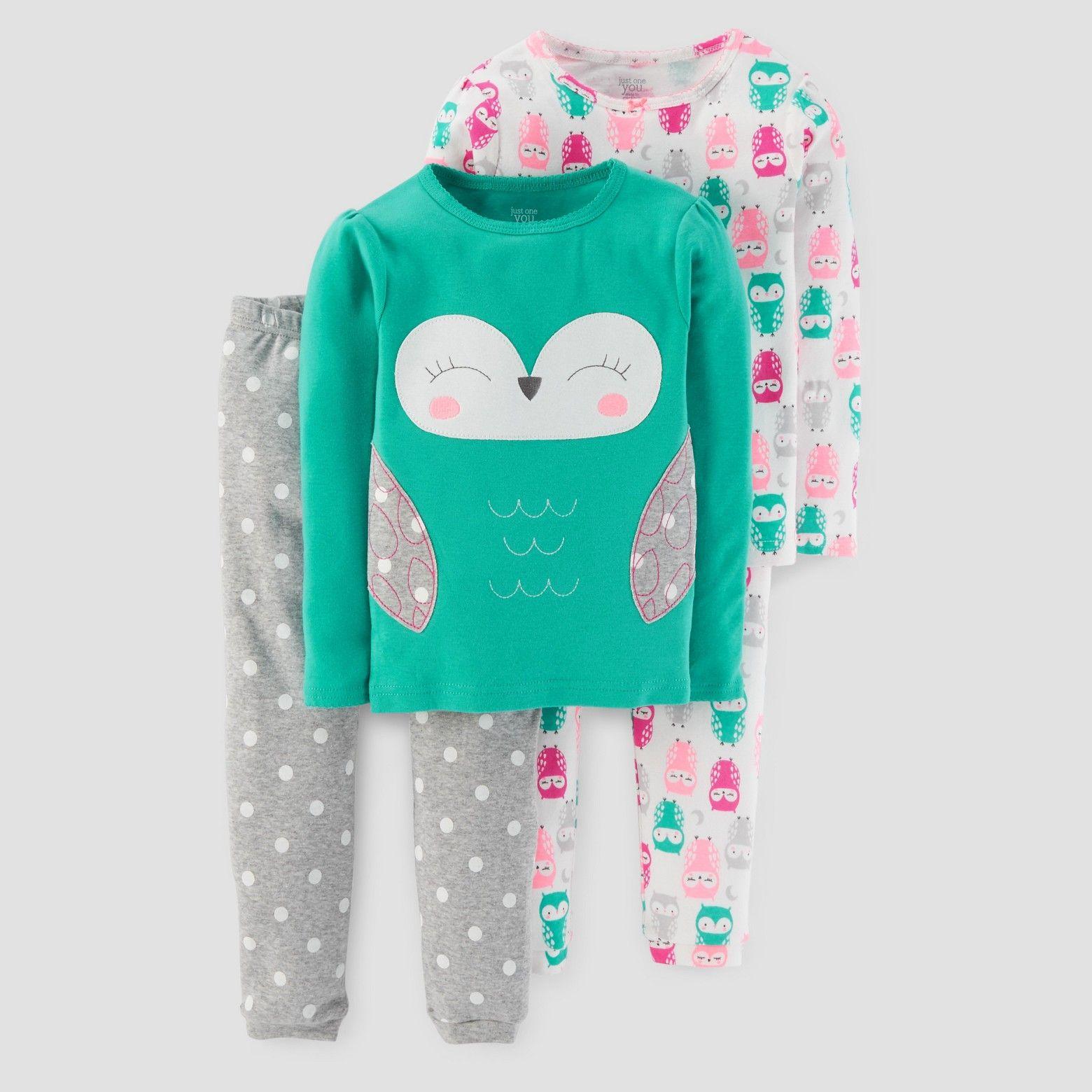 Baby Girls' 4pc Long Sleeve Owl/Polka Dots Pajama Set