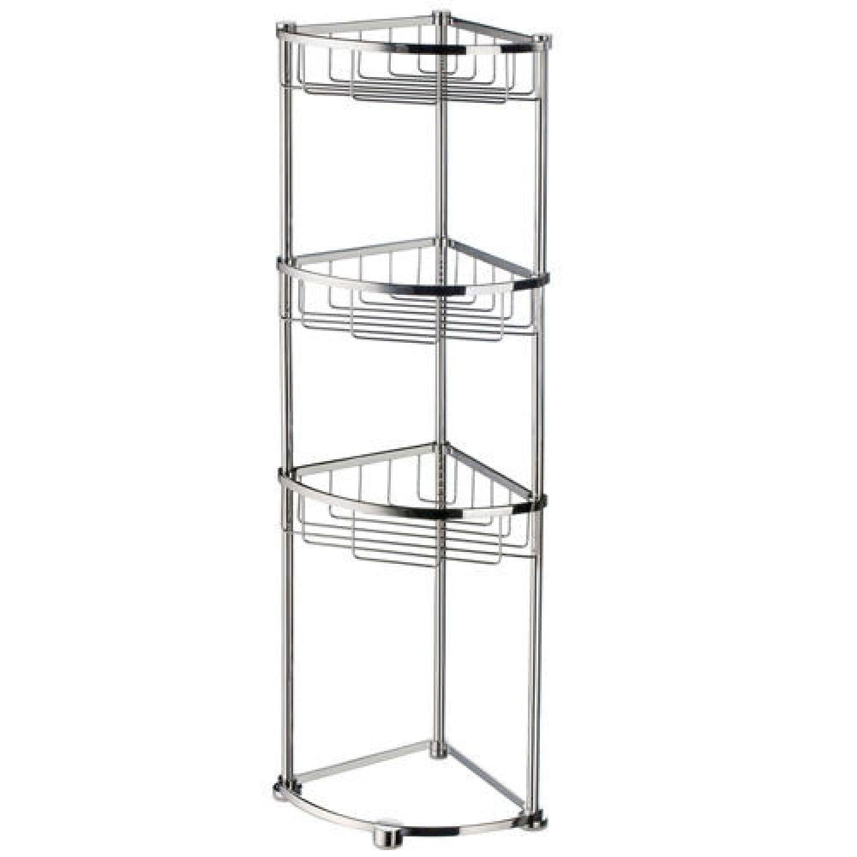 Sideline Collection Freestanding Corner Shower Basket Polished