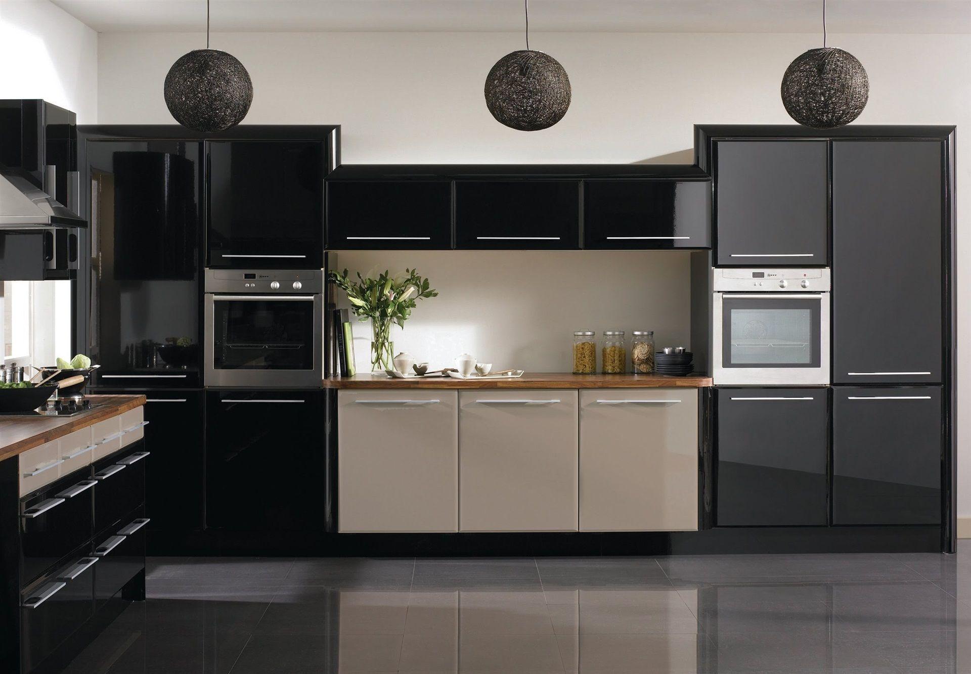 Beige Cappuccino Flat Kitchen Interior Design Style House Room Black Kitchen Cabinets Modern Kitchen Design Black Kitchens