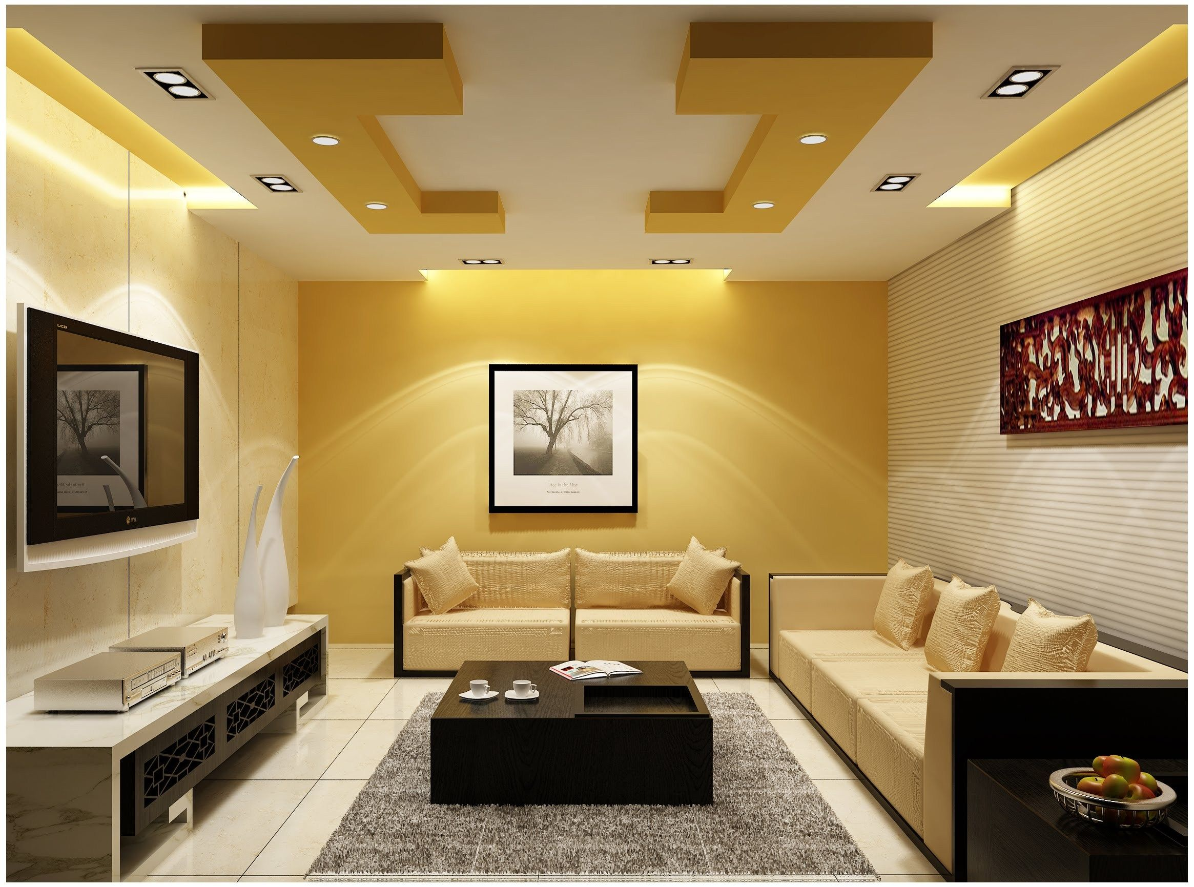 Great ... To The General Outlook Of The Ceiling, So You Need To Choose A Ceiling  Carefully. Here Are Some Creative Ceiling Designs Perfect For The Living  Room; ...