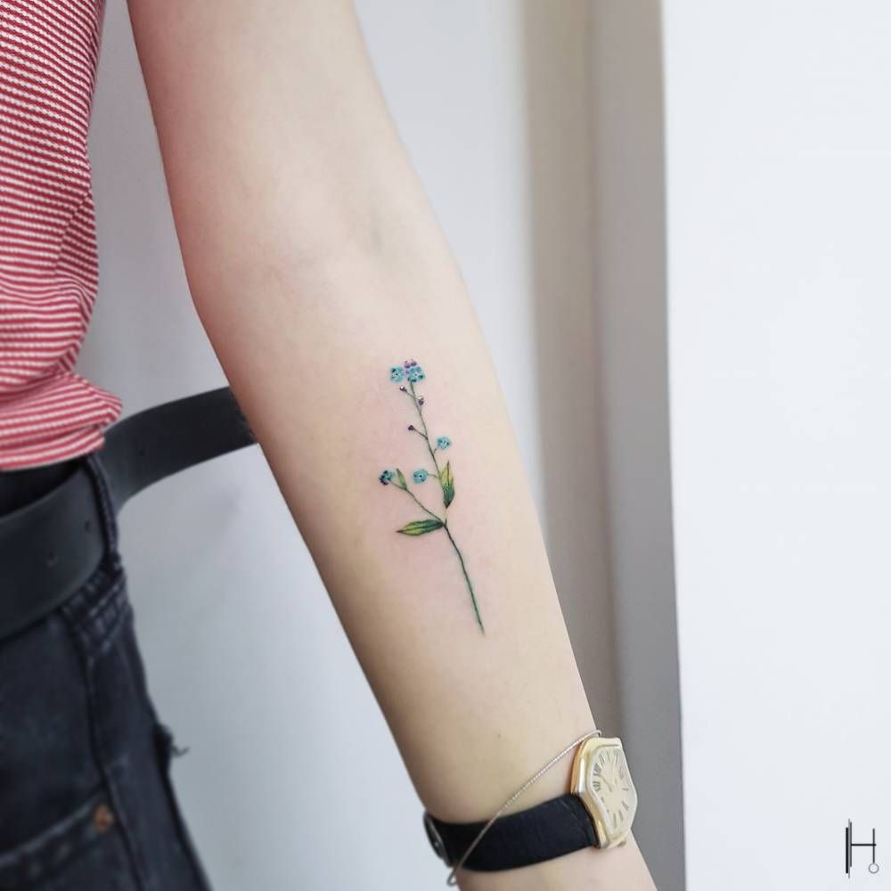 Photo of My tattoo of lavender and forget me nots