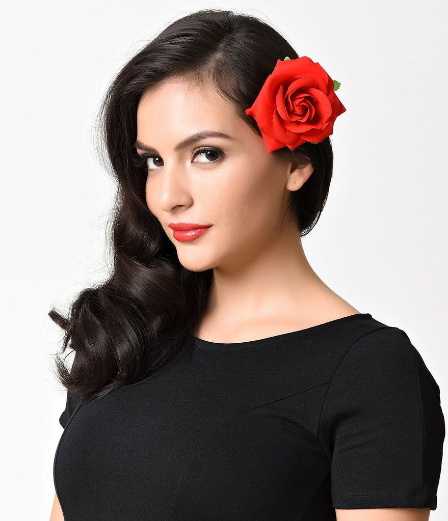 6623e338330d Retro Style Red Rose Flower Hair Clip in 2019 | ref.......!!! | Red ...