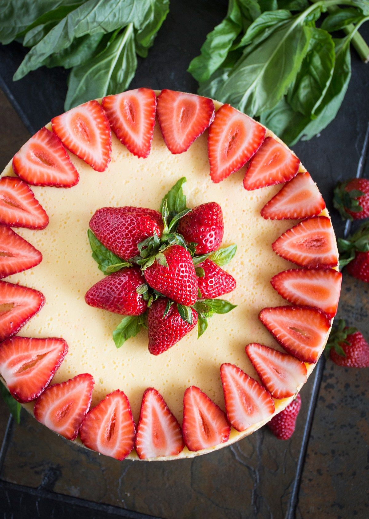 Strawberry Goat Cheese Cheesecake With Basil Balsamic
