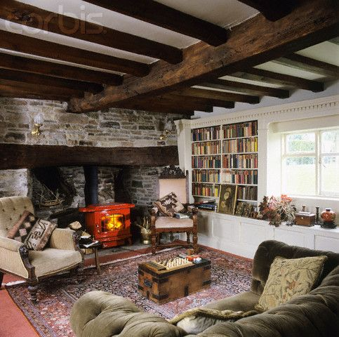 Red Stove In Inglenook Fireplace Country Living Room On Ambience Images From Arcaid The Architectural Picture Agency