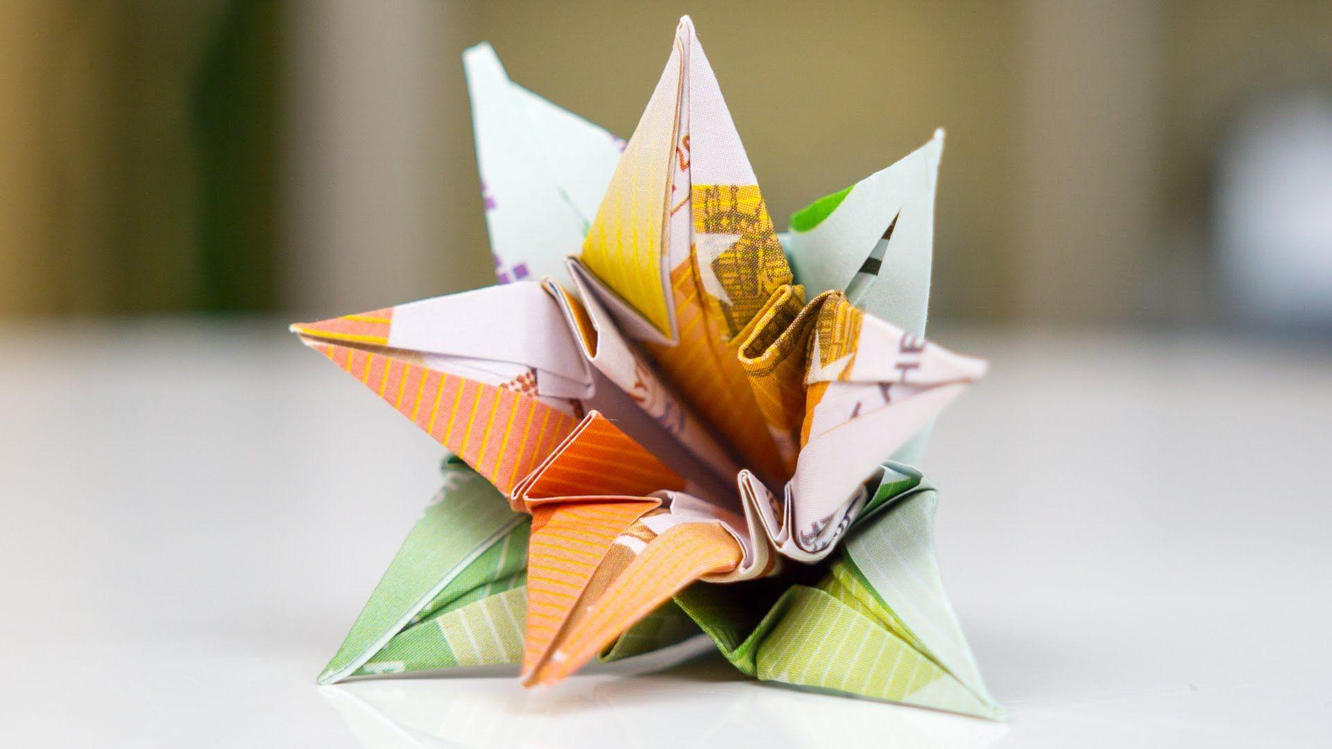 Geldgeschenk Hochzeit Blumen Falten Aus 2 Euro Geldscheinen Origami Anleitung Zum Basteln Eines Originellen Geldges Blumen Falten Geld Falten Blume Geschenke