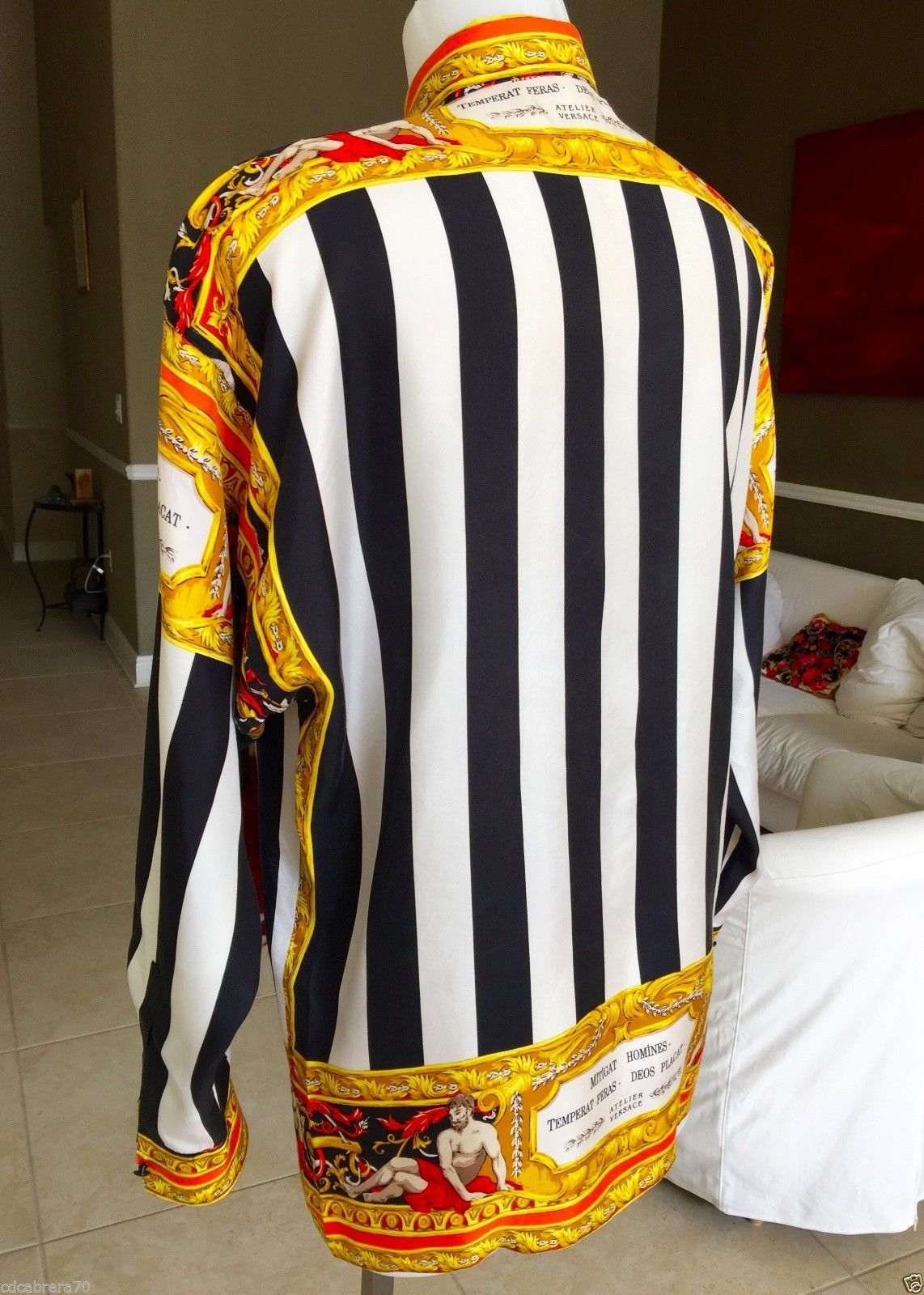 Vintage Gianni Versace Silk Shirt Versace Tapestry Print Size 46 Style Worn  Tyga… 7bcefdf51d89
