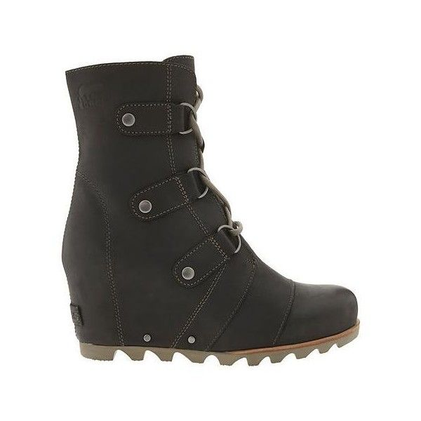 Sorel Women Joan Of Arctic Wedge Boot ($250) ❤ liked on Polyvore featuring shoes, boots, black, short boots, bootie boots, short black boots, black ankle boots and black boots