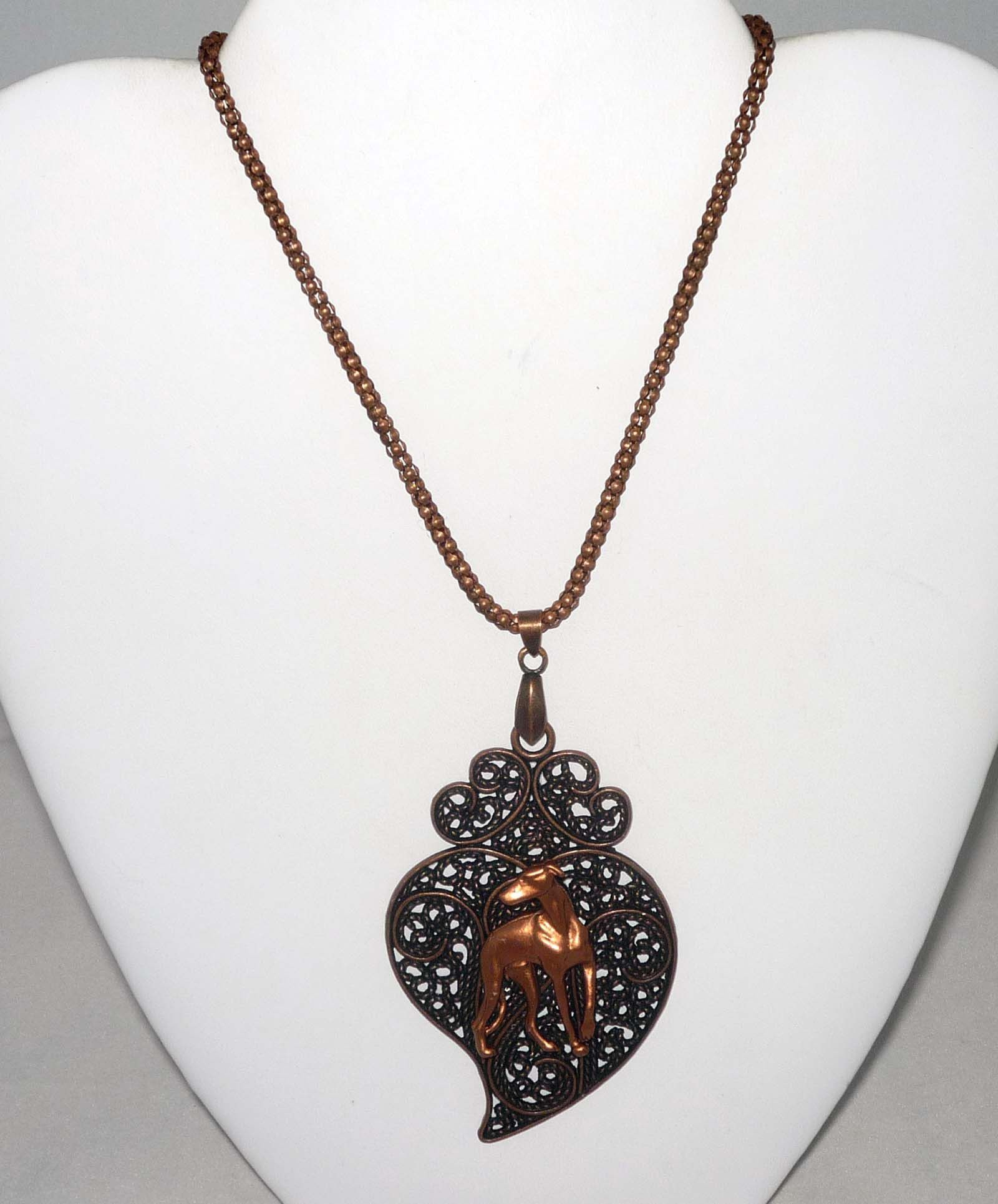 Copper Stylized Leaf Pendant w Copper Looking Back Greyhound / Whippet Dog, Copper Necklace