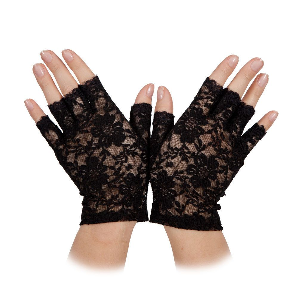 Quality 80/'s Black /& white Lace Fingerless Gloves fancy dress