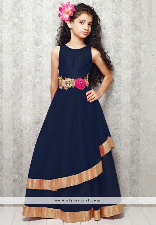 Noble Navy Blue Faux Georgette Readymade Girls Party Wear Gown ...