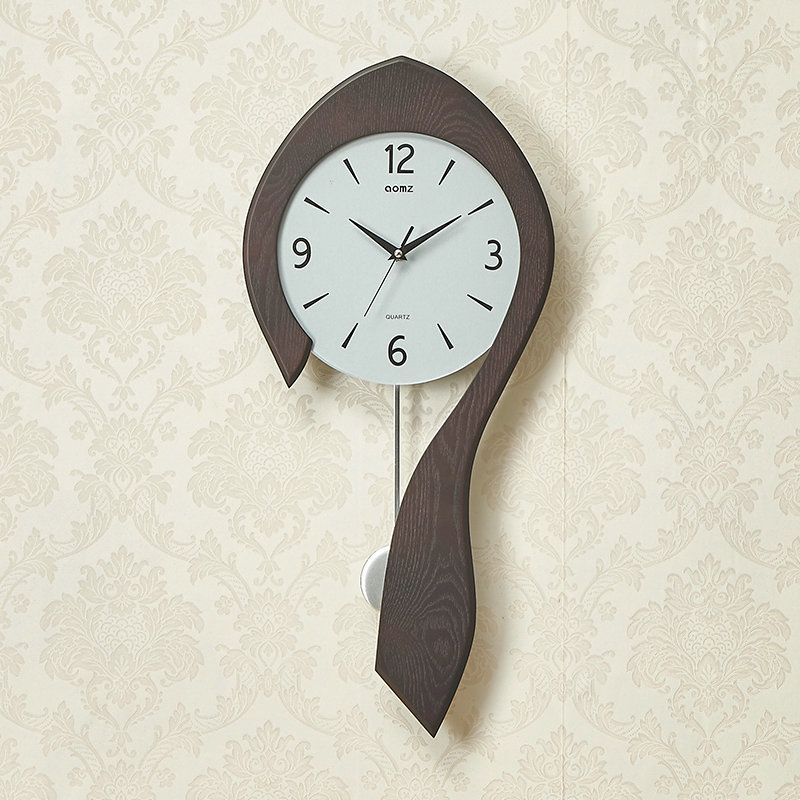 Modern Spoon Wall Clock Simple Wooden Non Ticking Wall Clock With