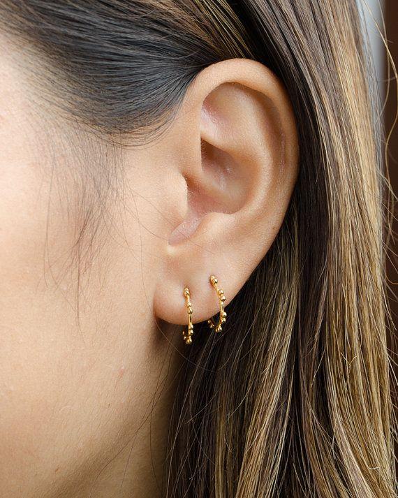 7670cb546 Hoop Stud Earrings, Sterling Silver & Gold Plated, Open Hoop Earrings,  Modern Jewelry, Hand Made, Gift for Her, STD067