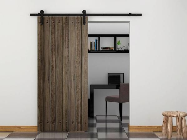 6 Foot Sliding Barn Door Hardware Kit Black Steel Tsq04 Commercial Bargains Inc 1 Modern Sliding Barn Door Home Home Decor