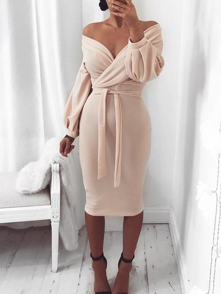 b137bc130cfc Shop Off Shoulder Twisted Waist Tie Sexy Midi Dress right now, get great  deals at Joyshoetique.