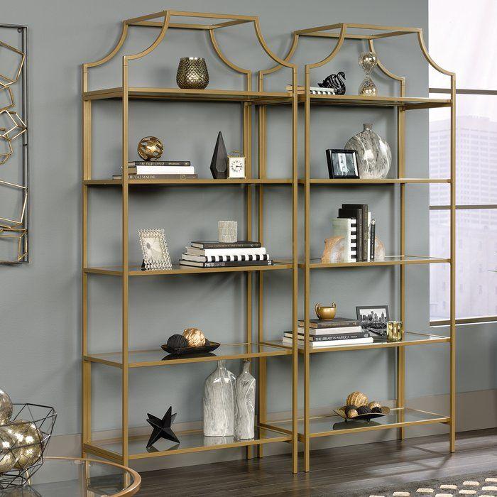 Damon Etagere Bookcase Etagere Bookcase Glass Bookcase Gold