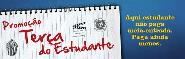Na rede Cinépolis, toda terça feira os estudantes que comprarem ingressos (mediante apresentação da carteira de identificação estudantil) não pagam meia, pagam ainda menos!    Os ingressos que custam a partir de R$3, são válidos em salas normais, 3D, Macro XE e Macro XE 3D!    Confira: http://www.cinepolis.com.br/promocoes/promoinloco.php?cpil=68