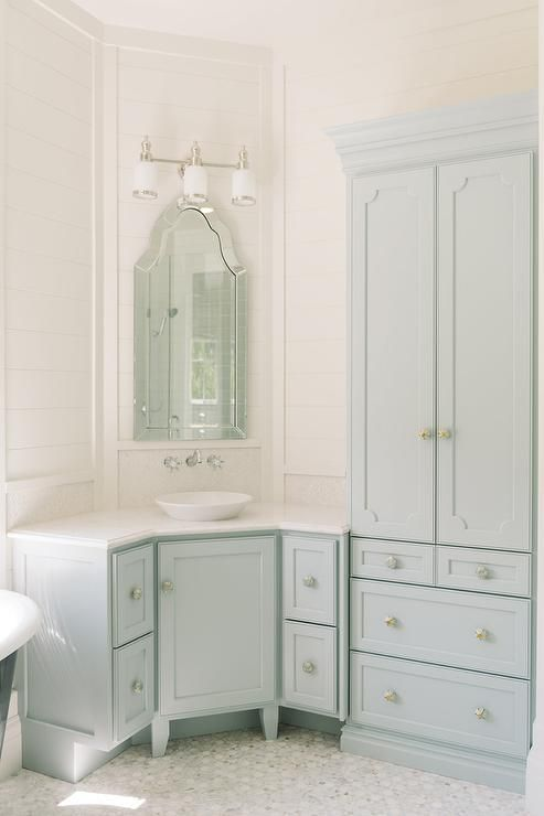 Superb Blue Bathroom Features A Blue Corner Washstand Painted Benjamin Moore Woodlawn  Blue Topped With White Marble
