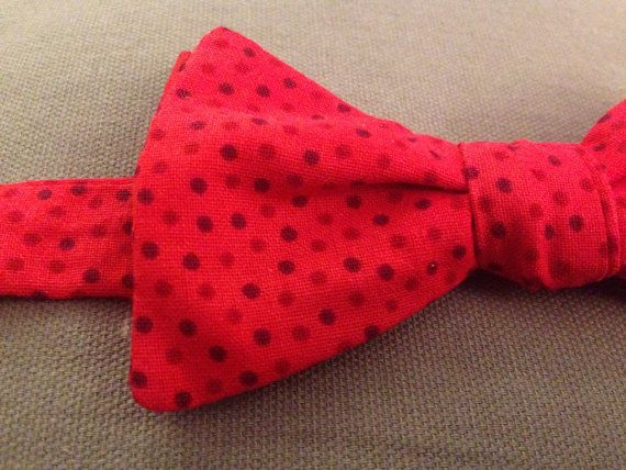 Red polka dot bow tie by KAYERbowties on Etsy