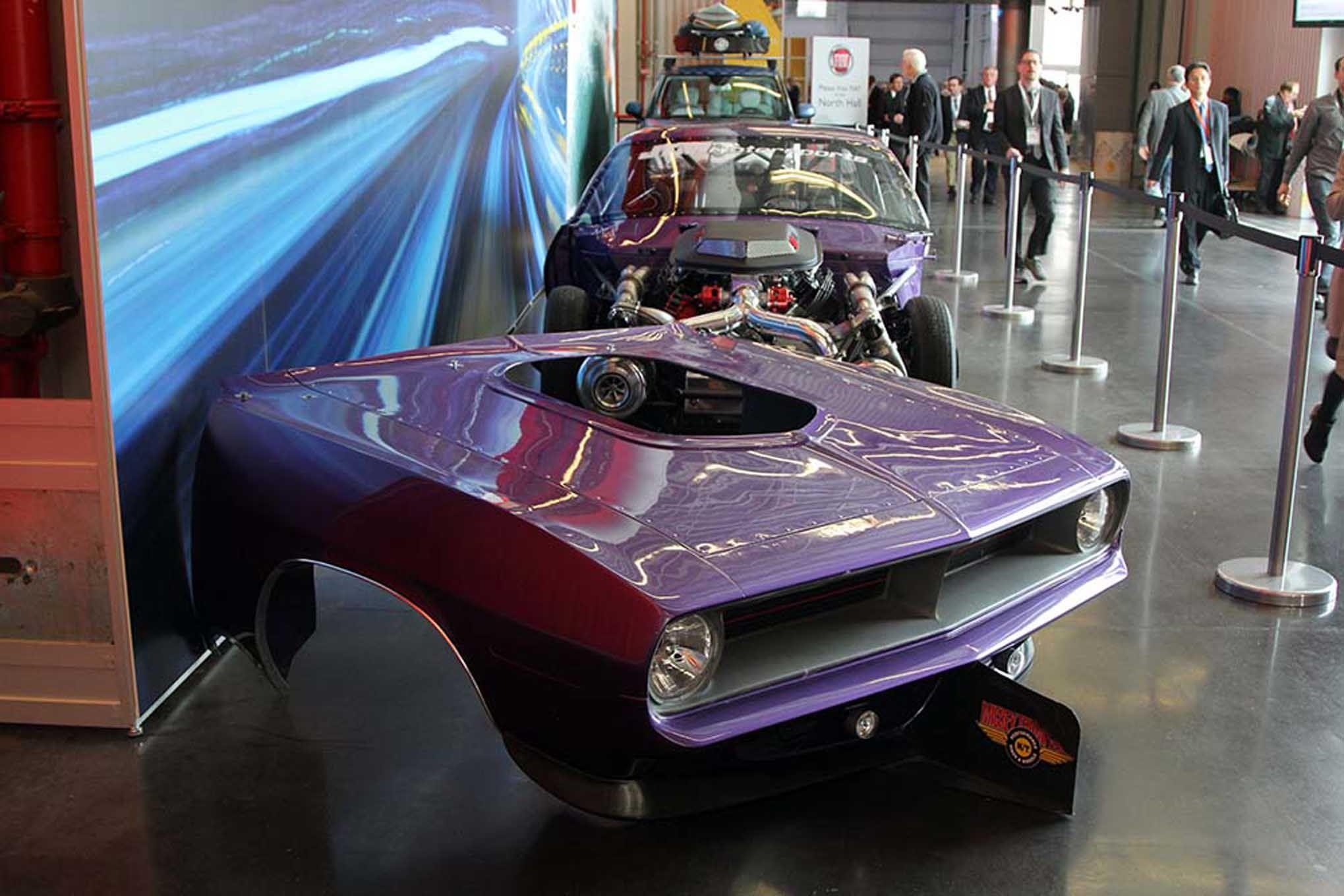 JTM Motorsports-built 1970 twin-turbo Hemi \'Cuda drag car. The ...