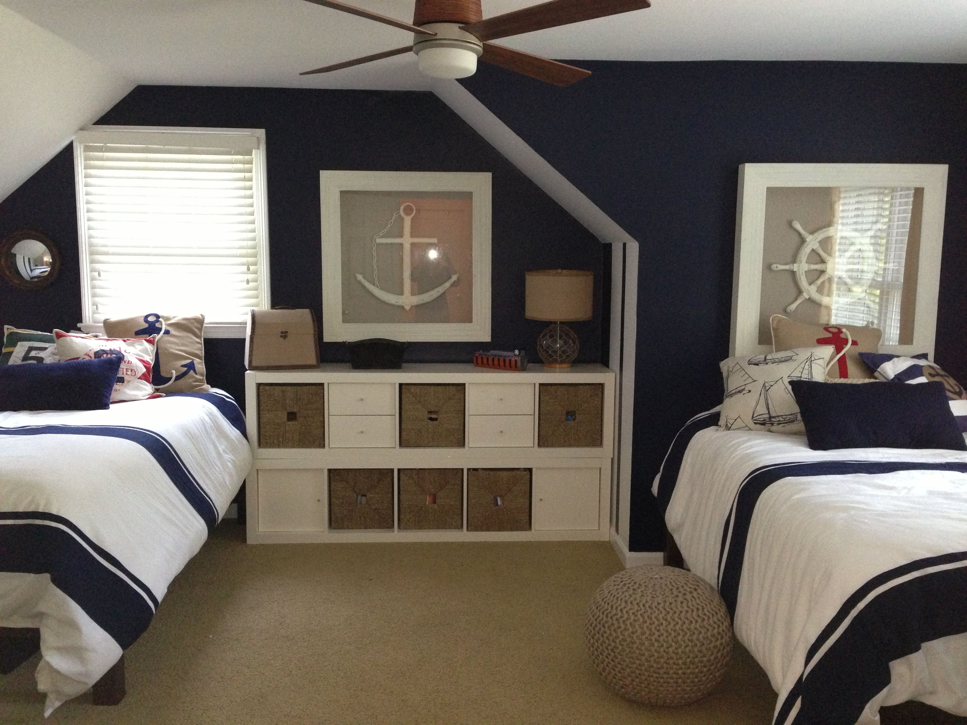 Nautical Boys Room Striped Bedspreads And Navy Accent Wall More