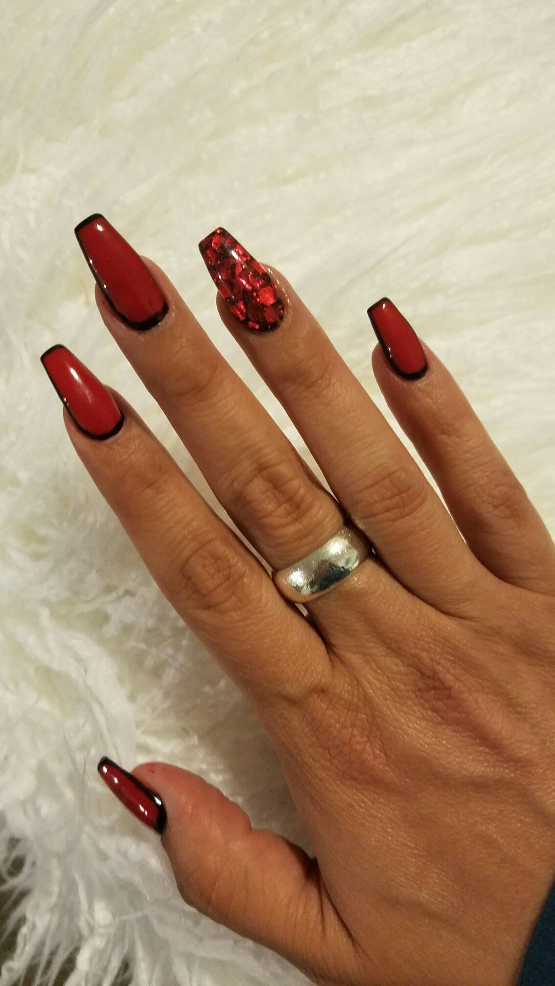 Red And Black Coffin Nails My Nails Done At Lush Nails In 2019