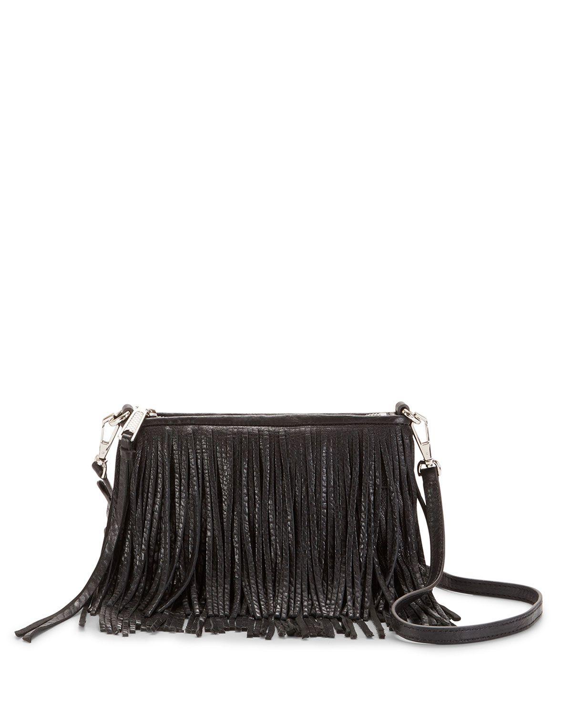 eae10958e Rebecca Minkoff Finn Leather Fringe Crossbody Bag, Black   *Handbags ...