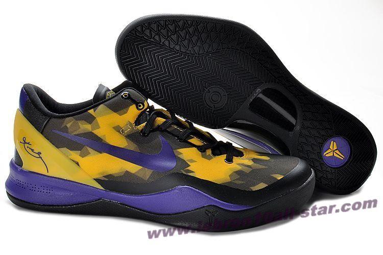 reputable site 91533 61f4f Nike Zoom Kobe VIII (8) Black Purple Yellow Basketball Shoes Style 555035 -103