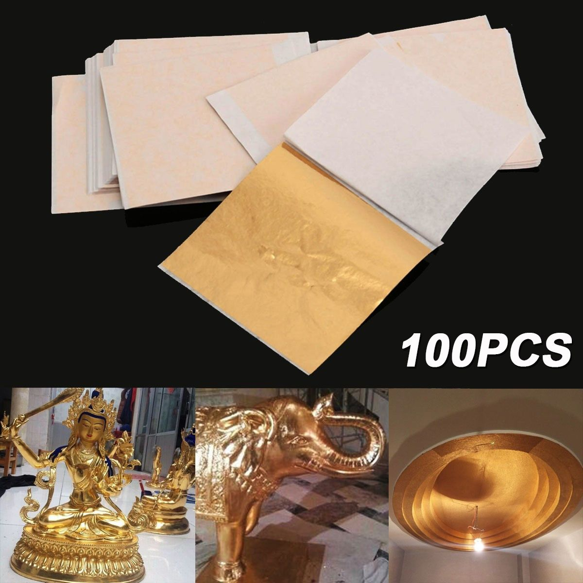 100 Sheets Set Gold Foil Leaf Aluminum Leaf Gilding Handicrafts Decorative Craft Paper Diy Decoration For Furniture 8x8 5cm